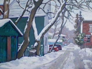 Woodbine Lane at Rosedale (Old Ottawa South) - acrylic on wood, 21 x 26 in, 53 x 66 cm, 2011, SOLD