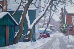 Woodbine Lane at Rosedale (Old Ottawa South) - Acrylic on wood, 21 x 26 in, 53 x 66 cm, 2011