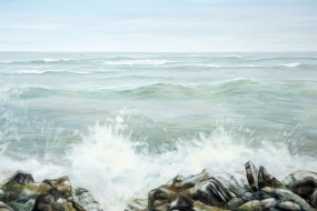 Cressy Lakeside Shore, acrylic on canvas, 36 x 72 in, 91 x 183 cm, 2020, SOLD