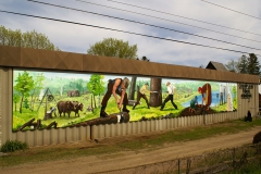 The Pioneers of Pembroke Acrylic on Crezone panels, 12 x 88 ft, 3.6 x 27 m, 2008, Champlain Trail Museum, Pembroke Ontario