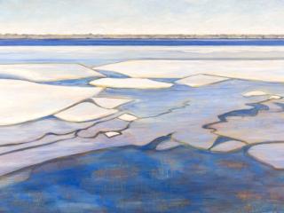 Breaking Ice, acrylic on birch panel, 30 x 48 in, 76 x 122 cm, 2021, SOLD