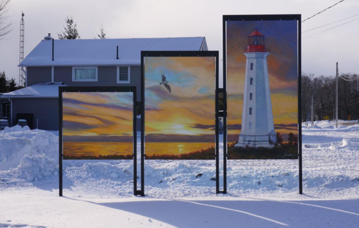 Lighthouse at Main Duck Island, acrylic on signboard, (48x48, 72x48, 96x48 in), (122x122, 183x122, 244x122 cm), 2016